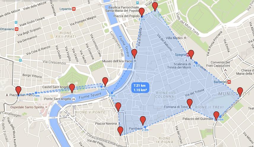 walking itinerary rome